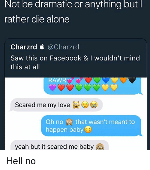 Being Alone, Facebook, and Love: Not be dramatic or anything butl  rather die alone  Charzrd < @Charzrd  Saw this on Facebook & I wouldn't mind  this at all  RAWR  Scared me my love  Oh no-송, that wasn't meant to  happen baby  yeah but it scared me baby Hell no