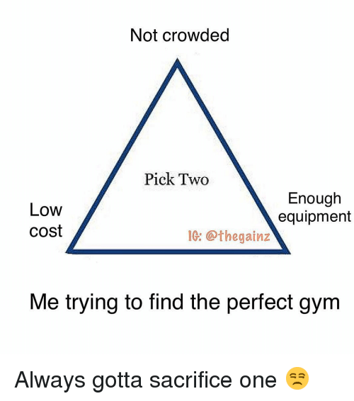 Gym, Memes, and 🤖: Not crowded  Pick Two  Low  cost  Enough  equipment  1: @thegainz  Me trying to find the perfect gym Always gotta sacrifice one 😒