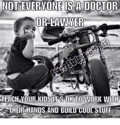 NOT EVERONE IS a DOCTOR ORSLAWMER TEACH YOUR KIDS ITS OK TO WORK ...