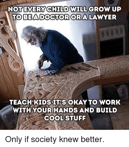 Lawyer, Work, and Okay: NOT EVERY CHILD WILL  TOBEADOGTORORA  GROW UP  LAWYER  TEACHKIDSIT'S OKAY TO WORK  WITHYOUR HANDS AND BUILD  COOLSTUFF Only if society knew better.