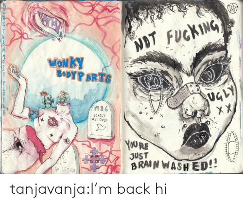 Fucking, Tumblr, and Blog: NOT FUCKING  MONKY  BODYPARTS  19 8  DE ARLY  BE LOVED  YOURE  JUST  BRANWASH ED!  Go LET GO  65 tanjavanja:I'm back hi