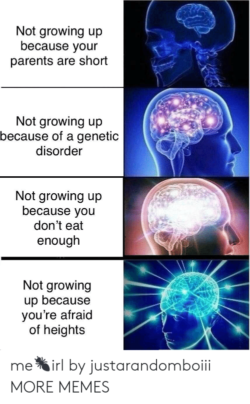 Dank, Growing Up, and Memes: Not growing up  because your  parents are short  Not growing up  because of a genetic  disorder  Not growing up  because you  don't eat  enough  Not growing  up because  you're afraid  of heights me🐜irl by justarandomboiii MORE MEMES