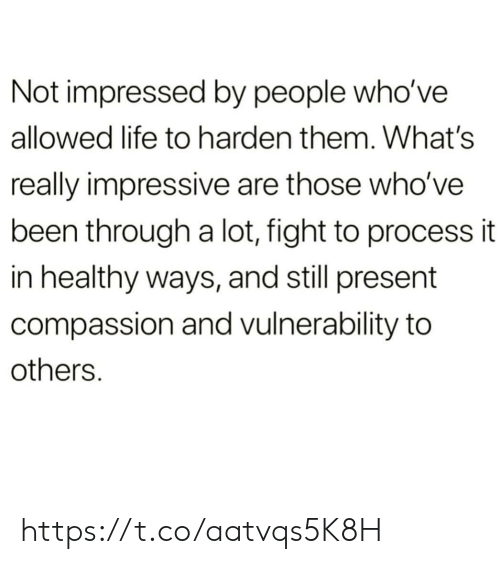 Life, Memes, and Compassion: Not impressed by people who've  allowed life to harden them. What's  really impressive are those who've  been through a lot, fight to process it  in healthy ways, and still present  compassion and vulnerability to  others. https://t.co/aatvqs5K8H