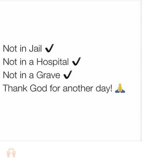 God, Jail, and Memes: Not in Jail V  Not in a Hospital V  Not in a Grave  V  Thank God for another day! 🙌🏻