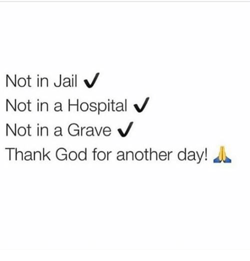 God, Jail, and Memes: Not in Jail  V  Not in a Hospital V  Not in a Grave  V  Thank God for another day!
