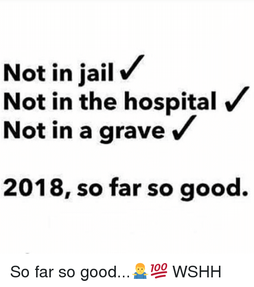 Memes, Wshh, and Good: Not in jailV  Not in the hospital  Not in a grave /  2018, so far so good. So far so good...🤷♂️💯 WSHH