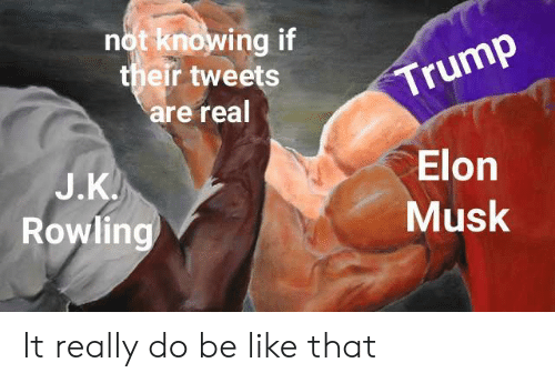 Be Like, Elon Musk, and Elon: not knowing if  their tweets  are real  rump  J.K  Rowlin  Elon  Musk It really do be like that