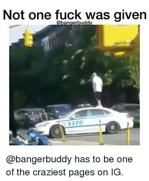 Funny, Fuck, and Pages: Not one fuck was given @bangerbuddy has to be one of the craziest pages on IG.