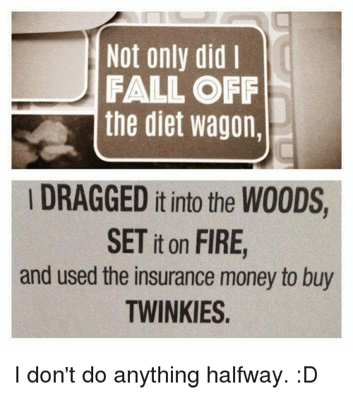Fall, Fire, and Memes: Not only did  FALL OFF  the diet wagon  DRAGGED it into the WOODS  SET it on FIRE  and used the insurance money to buy  TWINKIES I don't do anything halfway. :D
