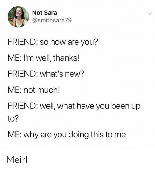 MeIRL, Been, and How: Not Sara  @smithsara79  FRIEND: so how are you?  ME: I'm well, thanks!  FRIEND: what's new?  ME: not much!  FRIEND: well, what have you been up  to?  ME: why are you doing this to me Meirl