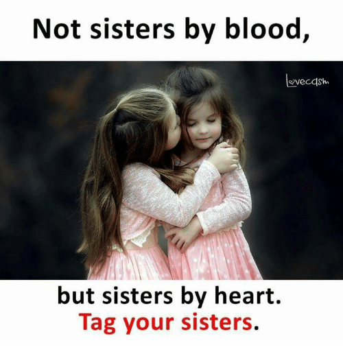 Bloods, Memes, and Heart: Not sisters by blood,  but sisters by heart.  Tag your sisters.