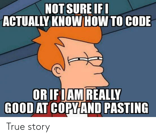 True, Good, and How To: NOT SURE IF  ACTUALLY KNOW HOW TO CODE  OR IFIAM REALLY  GOOD AT COPYAND PASTING True story