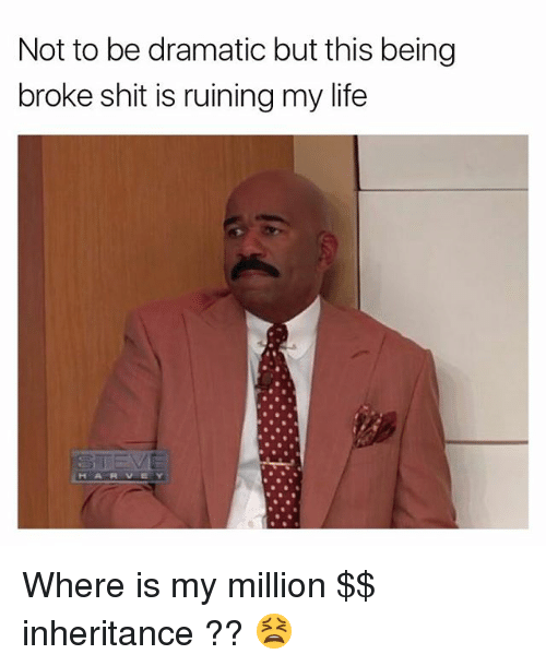 Being Broke, Life, and Memes: Not to be dramatic but this being  broke shit is ruining my life  HARVEY Where is my million $$ inheritance ?? 😫