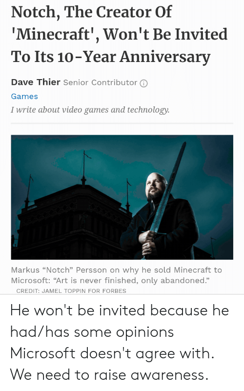 Notch the Creator of 'Minecraft' Won't Be Invited to Its 10