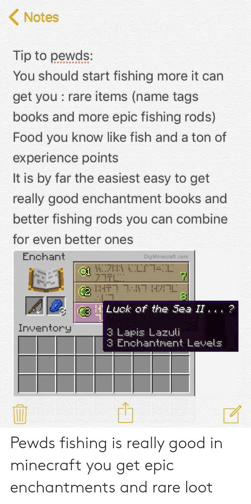 minecraft fishing rod enchantment