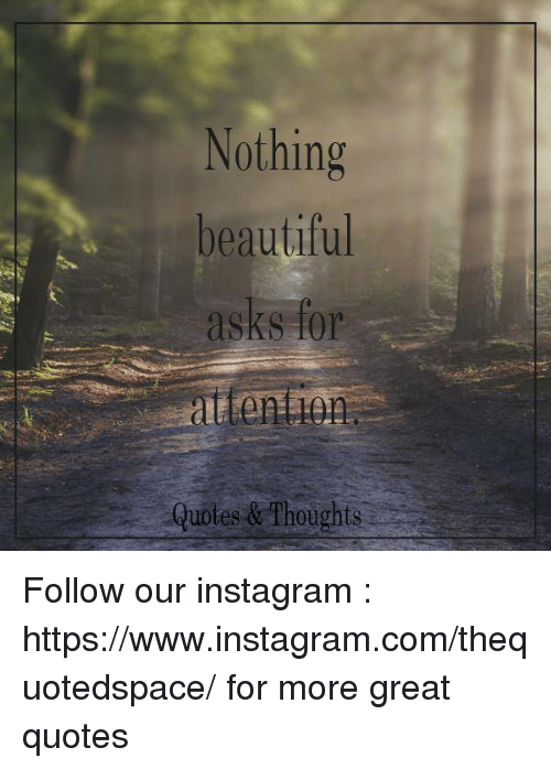 Image of: Instagram Bio Beautiful Instagram And Quotes Nothing Beautiful Asks For Attention Quotes Thoughts Follow Funny Nothing Beautiful Asks For Attention Quotes Thoughts Follow Our