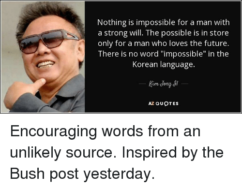 Nothing Is Impossible For A Man With A Strong Will The Possible Is