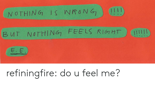 Tumblr, Blog, and Com: NOTHING IS WRONG  BUT NOTHING FEE LS RIGHT  E. E refiningfire:  do u feel me?