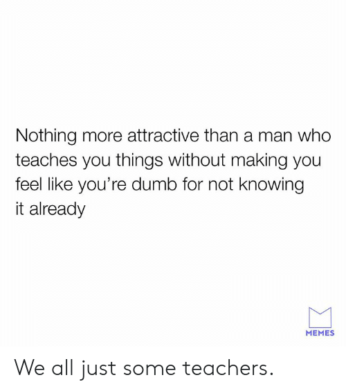 Dank, Dumb, and Memes: Nothing more attractive than a man who  teaches you things without making you  feel like you're dumb for not Knowing  it already  MEMES We all just some teachers.