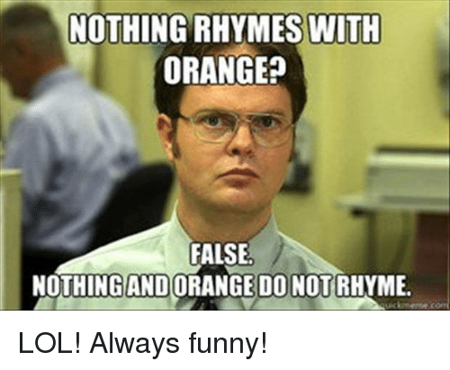 Funny Meme Rhymes : Nothing rhymes with orange? false nothing ando do not rhyme lol