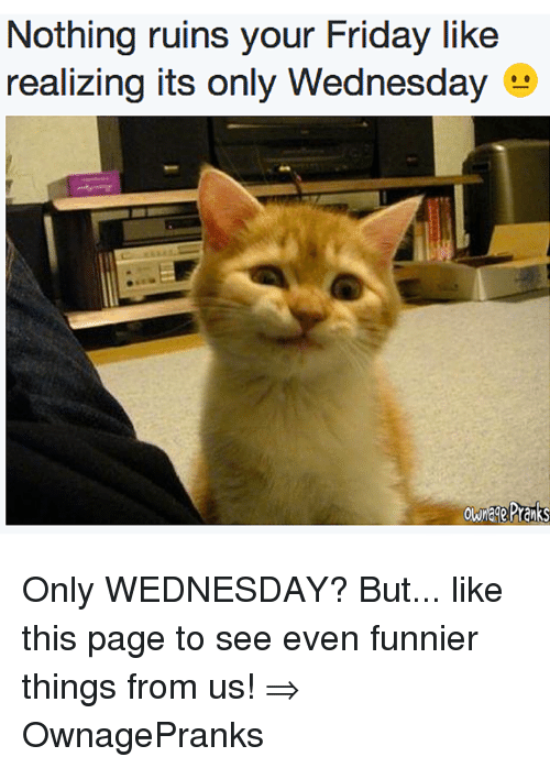 Friday, Memes, and Wednesday: Nothing ruins your Friday like  realizing its only Wednesday Only WEDNESDAY? But... like this page to see even funnier things from us! ⇒ OwnagePranks