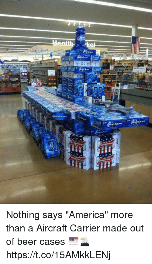 """America, Beer, and Memes: Nothing says """"America"""" more than a Aircraft Carrier made out of beer cases 🇺🇸🦅 https://t.co/15AMkkLENj"""