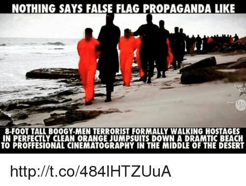 Memes, 🤖, and Foot: NOTHING SAYS FALSE FLAG PROPAGANDA LIKE  8-FOOT TALL BOOGY-MEN TERRORIST FORMALLY WALKING HOSTAGES  IN PERFECTLY CLEAN 0RANGE JUMPSUITS DOWN A DRAMTIC BEACH  TO PROFFESIONAL CINEMATOGRAPHY IN THE MIDDLE OF THE DESERT http://t.co/484lHTZUuA