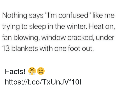 """Confused, Facts, and Winter: Nothing says """"I'm confused"""" like me  trying to sleep in the winter. Heat on,  fan blowing, window cracked, under  13 blankets with one foot out. Facts! 😤😫 https://t.co/TxUnJVf10I"""