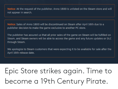 Notice at the Request of the Publisher Anno 1800 Is Unlisted