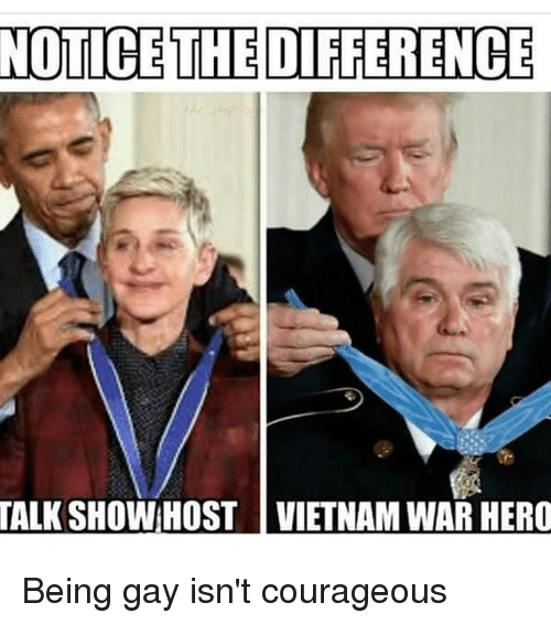 Memes, Vietnam, and Courageous: NOTICE THE DIFFERENCE  TALK  SHOW HOST VIETNAM WAR HERO Being gay isn't courageous