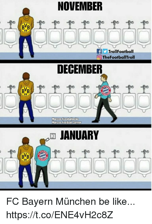 Be Like, Memes, and Bayern: NOVEMBER  BVB  09  fTrollFootball  TheFootballTroll  DECEMBER  BVB  09  Marcos Fussballecke  Hi  JANUARY  09 FC Bayern München be like... https://t.co/ENE4vH2c8Z