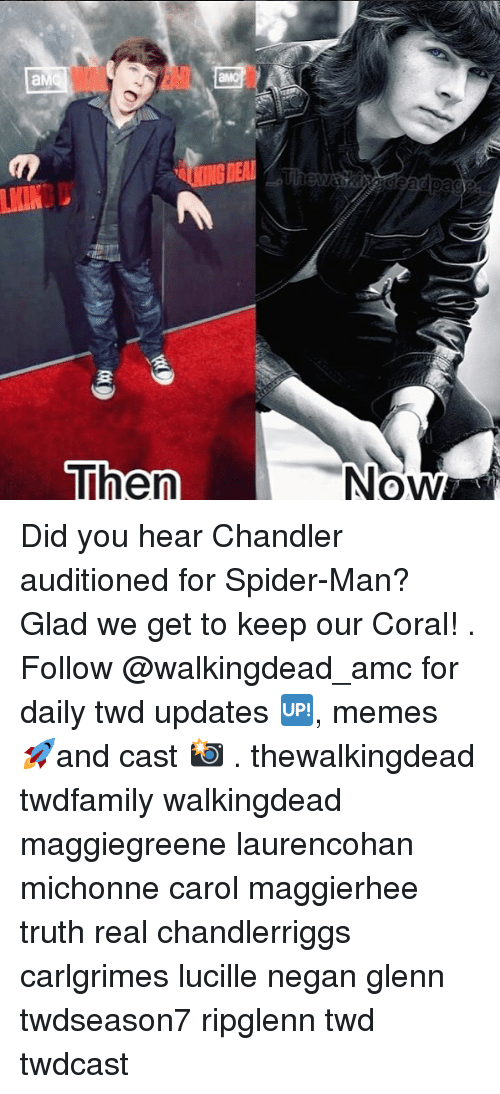 Memes, Spider, and SpiderMan: NOW Did you hear Chandler auditioned for Spider-Man? Glad we get to keep our Coral! . Follow @walkingdead_amc for daily twd updates 🆙, memes 🚀and cast 📸 . thewalkingdead twdfamily walkingdead maggiegreene laurencohan michonne carol maggierhee truth real chandlerriggs carlgrimes lucille negan glenn twdseason7 ripglenn twd twdcast