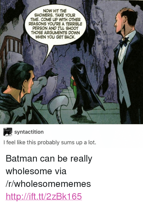 """Batman, Http, and Time: NOW HIT THE  SHOWERS. TAKE YOUR  TIME. COME UP WITH OTHER  REASONS YOU'RE A TERRIBLE  PERSON AND ILL SHOOT  THOSE ARGUMENTS DOWN  WHEN YOU GET BACK  syntactition  I feel like this probably sums up a lot. <p>Batman can be really wholesome via /r/wholesomememes <a href=""""http://ift.tt/2zBk165"""">http://ift.tt/2zBk165</a></p>"""