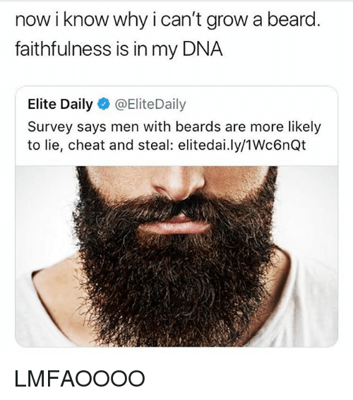 Beard, Memes, and Beards: now i know why i can't grow a beard.  faithfulness is in my DNA  Elite Daily@EliteDaily  Survey says men with beards are more likely  to lie, cheat and steal: elitedai.ly/1Wc6nQt LMFAOOOO