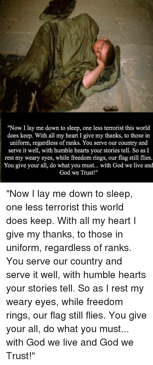 Now I Lay Me Down To Sleep One Less Terrorist This World Does Keep