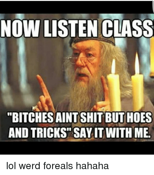 Hoes Lol And Memes Now Listen Class Bitches Aint Shit But Hoes