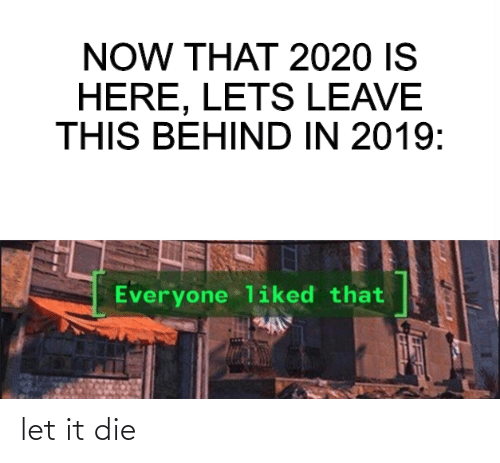 Dank Memes, Now, and This: NOW THAT 2020 IS  HERE, LETS LEAVE  THIS BEHIND IN 2019:  Everyone liked that let it die