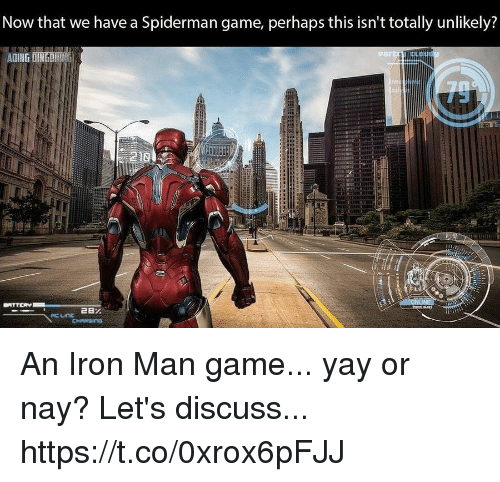 Iron Man, Video Games, and Game: Now that we have a Spiderman game, perhaps this isn't totally unlikely?  ADING İINGIIİIN. An Iron Man game... yay or nay? Let's discuss... https://t.co/0xrox6pFJJ