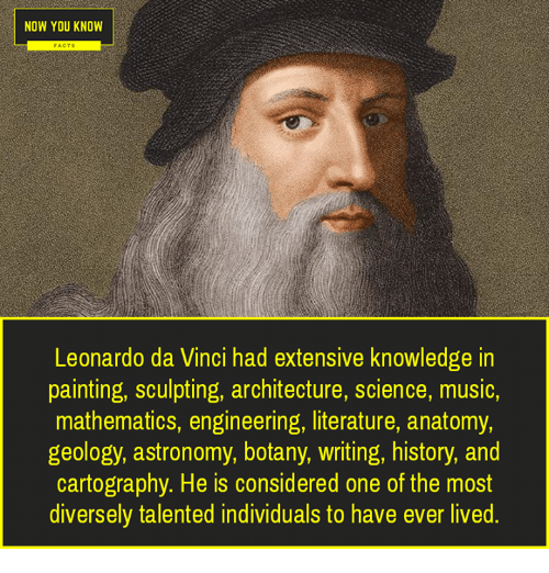 Leonardo Da Vinci, Memes, and Music: NOW YOU KNOW  Leonardo da Vinci had extensive knowledge in  painting, sculpting, architecture, science, music,  mathematics, engineering, literature, anatomy,  geology, astronomy, botany, writing, history, and  cartography. He is considered one of the most  diversely talented individuals to have ever lived