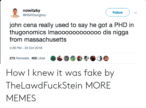 Dank, Fake, and John Cena: nowitzky  @NSAYoungboy  Follow  john cena really used to say he got a PHD in  thugonomics Imaoooooooooooo dis nigga  from massachusetts  2:29 PM -20 Oct 2018  273 Retweets 402 Likes How I knew it was fake by TheLawdFuckStein MORE MEMES