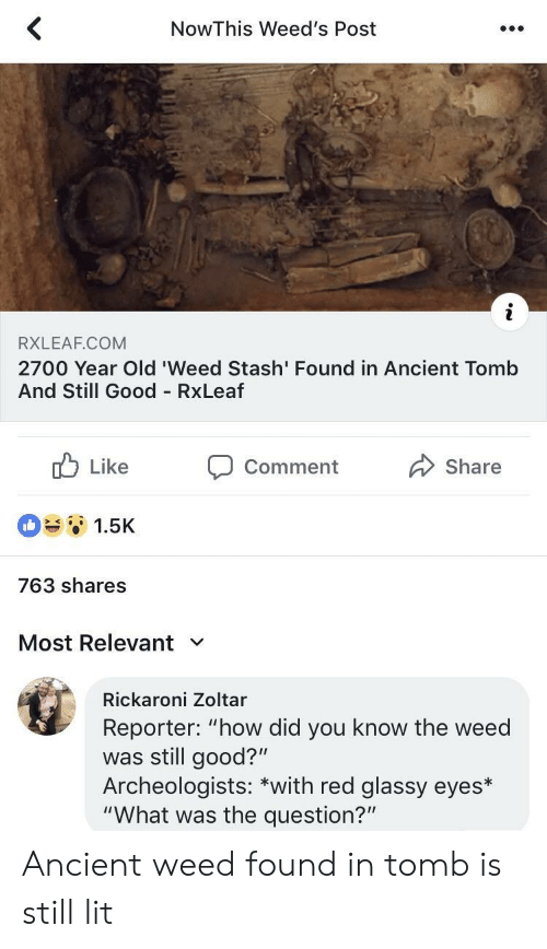 "Lit, Weed, and Good: NowThis Weed's Post  RXLEAF.COM  2700 Year Old 'Weed Stash' Found in Ancient Tomb  And Still Good RxLeaf  b Like Comment Share  1.5K  763 shares  Most Relevant  Rickaroni Zoltar  Reporter: ""how did you know the weed  was still good?""  Archeologists: *with red glassy eyes*  ""What was the question?"" Ancient weed found in tomb is still lit"