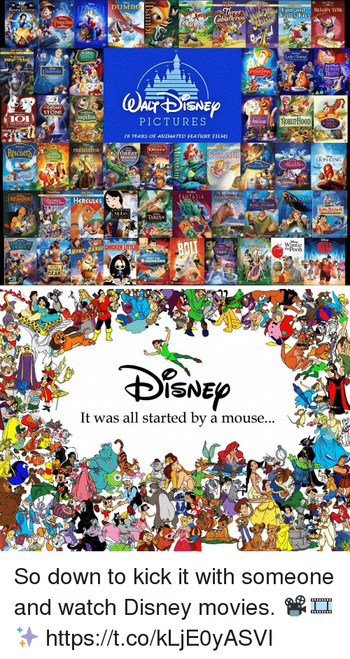 Disney, Movies, and Bear: nowWWhite  DALMATIANS  AHONTA  SWORD  STONE  BROTHER  BEAR  Jungle Bock  HERCULES  aballeros  PETERPAN  CT DISNE  PICTURES  76 YEARS OF ANIMATED FEATURE FILMS  Oliver  GREAT  ANTA SIA  MEET THE  ROBINSONS  Fun and MELODY TIME  Fancy Free  Lady Tramp  eeping 3  ROBInH00D  LION KING  nnie   SNE  It was all started by a mouse So down to kick it with someone and watch Disney movies. 📽🎞✨ https://t.co/kLjE0yASVI