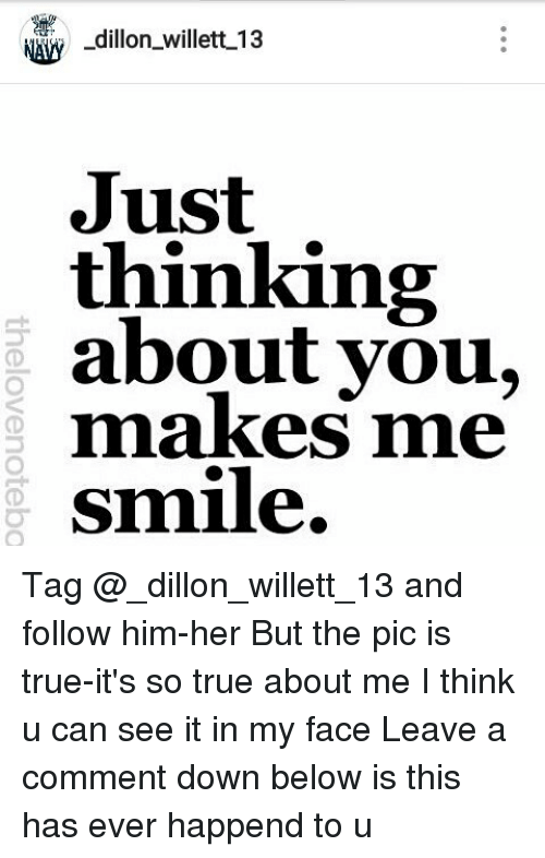 Nrw Dillon Willett 13 Just Thinking About You Makes Me Smile Tag And