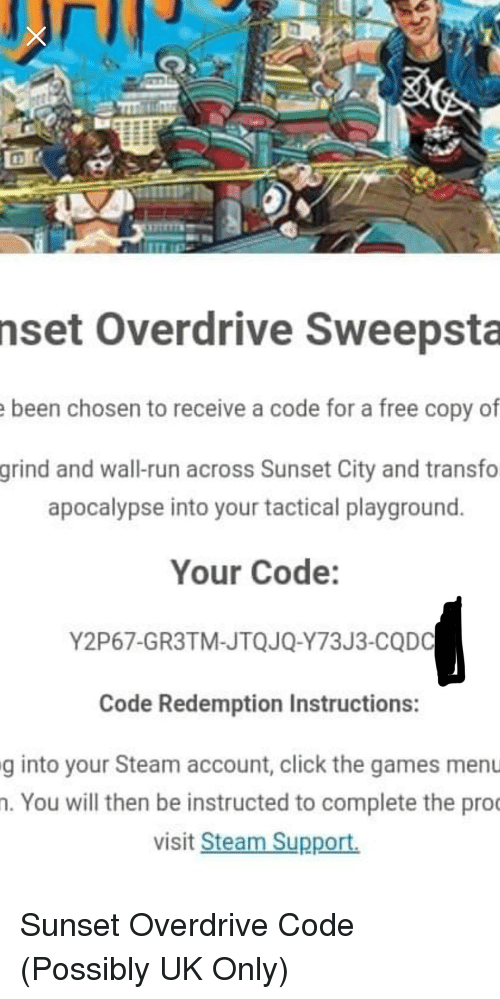 Nset Overdrive Sweepsta Been Chosen to Receive a Code for a