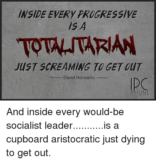 Memes, Progressive, and Socialist: NSIDE EVERY PROGRESSIVE  IS A  TOTAITARIAN  JUST SCREAMING TO GET OUT  - David Horowitz  BHONE And inside every would-be socialist leader...........is a cupboard aristocratic just dying to get out.