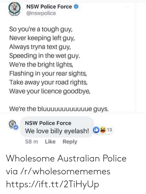 Love, Police, and Text: NSW Police Force  @nswpolice  So you're a tough guy,  Never keeping left guy,  Always tryna text guy,  Speeding in the wet guy  We're the bright lights,  Flashing in your rear sights,  Take away your road rights,  Wave your licence goodbye,  We're the bluuuuuuuuuuue guys.  NSW Police Force  We love billy eyelash!  13  Like Reply  58 m Wholesome Australian Police via /r/wholesomememes https://ift.tt/2TiHyUp