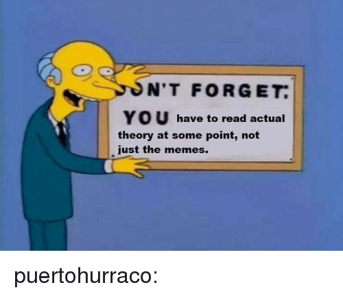 Memes, Tumblr, and Blog: N'T FORGET.  YOU have to read actual  theory at some point, not  just the memes. puertohurraco: