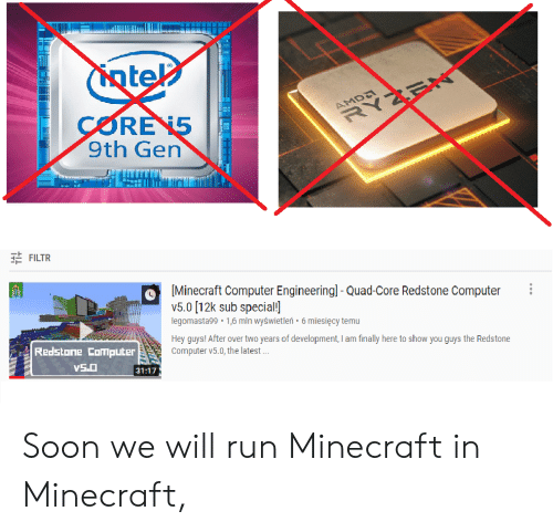 Ntel CORE 15 9th Gen AMD RYZEN 크는 FILTR Minecraft Computer