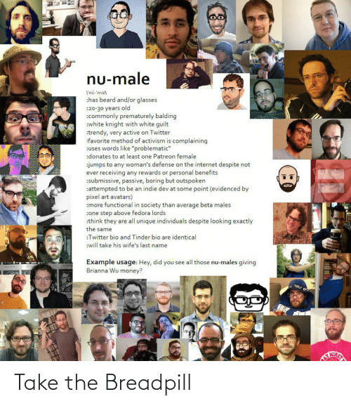 """Beard, Fedora, and Internet: nu-male  I'nü-'mäll  :has beard and/or glasses  :20-30 years old  :commonly prematurely balding  :white knight with white guilt  :trendy, very active on Twitter  :favorite method of activism is complaining  :uses words like """"problematic""""  :donates to at least one Patreon female  :jumps to any woman's defense on the internet despite not  ever receiving any rewards or personal benefits  :submissive, passive, boring but outspoken  :attempted to be an indie dev at some point (evidenced by  pixel art avatars)  :more functional in society than average beta males  :one step above fedora lords  :think they are all unique individuals despite looking exactly  the same  :Twitter bio and Tinder bio are identical  :will take his wife's last name  ER  Example usage: Hey, did you see all those nu-males giving  Brianna Wu money? Take the Breadpill"""