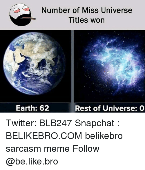 Be Like, Meme, and Memes: Number of Miss Universe  Titles won  Earth: 62  Rest of Universe: O Twitter: BLB247 Snapchat : BELIKEBRO.COM belikebro sarcasm meme Follow @be.like.bro